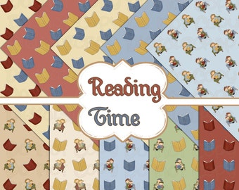 Buy 1 Get 1 Free Reading Time Family Digital Scrapbooking 10 Paper Pack 12x12 Instant Download