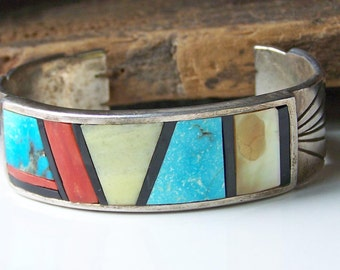 REDUCED Zuni Native American Cuff with Inlaid Turquoise, Red Coral, Native American, Turquoise Cuff, Turquoise Bracelet, Gift, Etsy Jewelry,