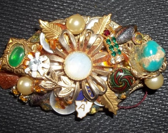STEAMPUNK Vintage COLLAGE Recycled Brooch Pin