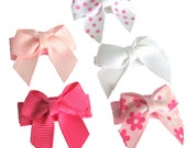 Baby Hair Bows - Infant Hair Clips - 5 No-Slip, Mini Ally Bow Basic Pink Snap Clip Set...one of each color