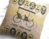 Vintage Burlap Pillow  Sham - 20 Inches