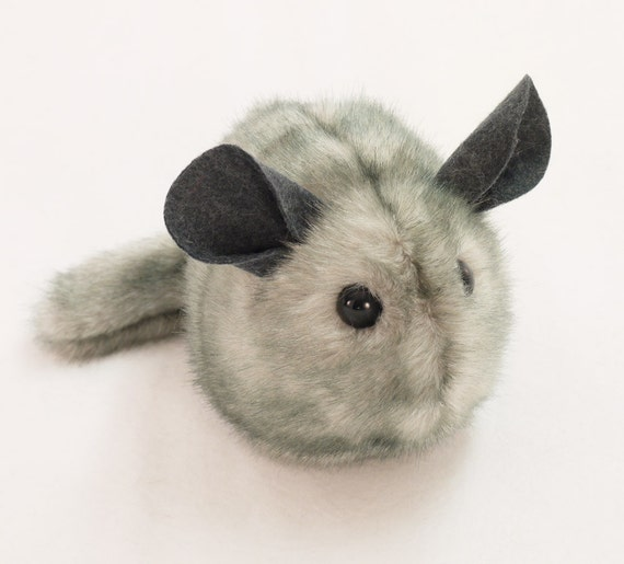 Light Grey Chinchilla Stuffed Animal Plush Toy 5x8 Inches