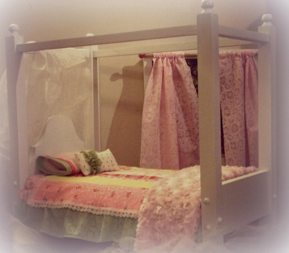 American Girl Doll Canopy Bed for 18 inch Doll - Toy Doll Bed - Includes Mattress and Pillow