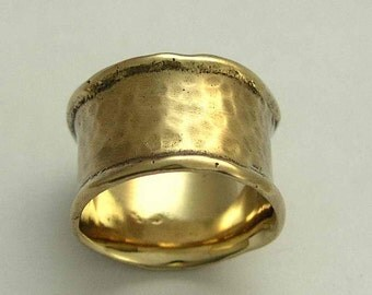 Solid gold ring, yellow gold ring, Mens and Womens wedding ring, unisex band, hammered wide band, matte gold band - Feel of love RG1076