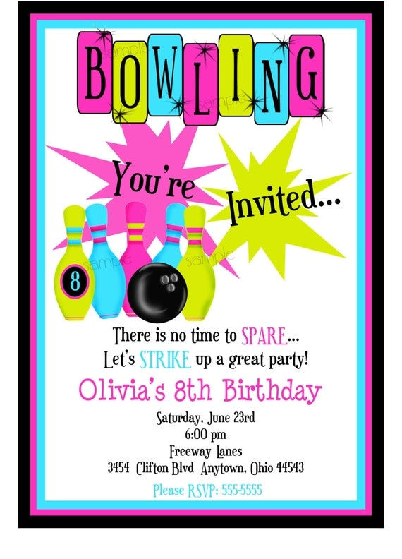 Bowling Invitations Bowling Birthday Party Cosmic Bowling