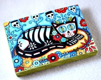 Wood Block Art Print, ACEO ATC, Day of the Dead Cat, Magnet or Drilled Hole, Artist Trading Card, Mexican Art, Watercolor, Blue Black