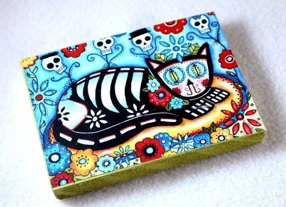 Cat Art Print on 5 x 7 Wood Block, Day of the Dead Cat, Mexican Art, Wooden, Watercolor, Blue Black