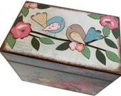 Recipe Box, Wood Recipe Box, Decoupaged Recipe Box, Bird Recipe Box, Wedding Recipe Box, Bridal Shower Box, Holds 4x6 Cards, MADE TO ORDER
