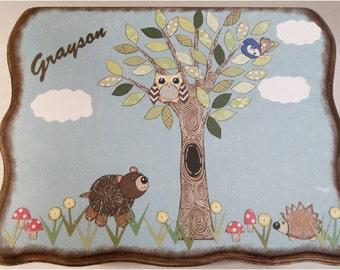 Children or Baby Keepsake Box- Wedding Card Box - Storage, Organization Woodland Animals, Treasure Box, Baby Shower - Large -MADE TO ORDER