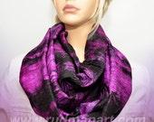 Infinity silk scarf Hand dyed wrinkled Habotai Silk Scarf Purple Black Galaxy