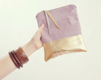 Bridesmaid Gift. Mauve Bridesmaid Clutch. Lavender Wedding. Gold Pouch.