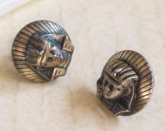 Vintage Art Deco Earrings, Egyptian Revival Jewelry, Pharaoh Earrings, Egyptian Earrings, Ancient Egypt, 20s Earrings, 30s Jewelry