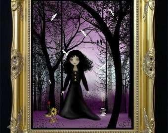 Steampunk Art Digital Painting - Art Print - Violet Dawn -  Fantasy Forest - Dragonflies - Steampunk Girl