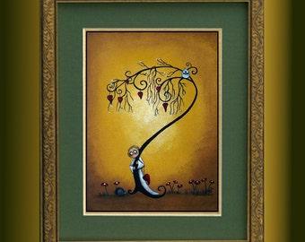 Creeper Art Whimsical Art Print -- Limited Edition of 10 -- 11x14 -- Hide and Seek --- Whimsical Tree - Hedgehog - Owl