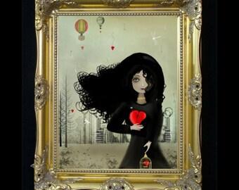 Dark Romance Steampunk Digital Painting Art Print -  I Heart U