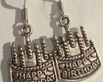 Happy Birthday cake with candles charm pierced dangle earrings