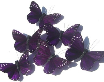 Butterfly Hair Clip vibrant violet purple feather butterfly hand made hair clip by Ziporgiabella