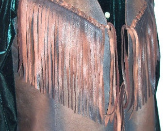 Leather Vest in Distressed Deerskin Western Style Fringed Vest Old West Motorcycle Vest Custom Handmade by Debbie Leather