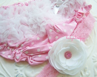SAVE 15% BABY K Designs Baby Chiffon Ruffle Diaper Cover Bloomer n Flower Lace Headband Pink Yellow Red Purple Phtoo Prop Cake Smash