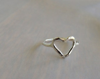 Sterling Open Heart Ring, Silver Jewelry, Love Ring
