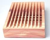 Bar  Natural Cedar Wooden Soap Dish