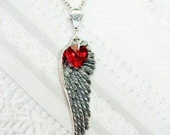 Silver Necklace - Silver Love Angel Wing Necklace - Heart Necklace - Jewelry by BirdzNbeez - Valentine's Day Wedding Birthday Gift