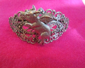 Sweet Silver Plated Brass Filigree Bracelet with a Lovely Detailed Flying Pig-Limited Edition
