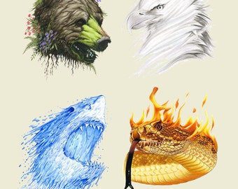 The Four Elements- Limited Edition Animal Art Print