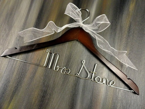Coat hanger bride hangers bridal by originalbridalhanger for Wedding dress hangers with name