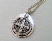 St. Benedict Sterling Silver Religious Medal Cross Necklace
