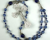 Handmade Anglican Rosary Prayer Beads in Cobalt Blue