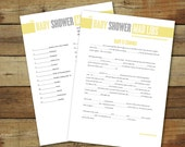 Printable baby shower Mad Libs, instant download, Mad Libs in yellow and gray