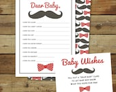 Mustache and bowtie baby shower game, dear baby, baby wishes, instant download, baby boy