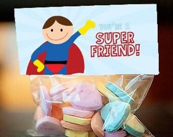 Super hero Valentine's Day treat bag topper, Super Friend - editable instant download