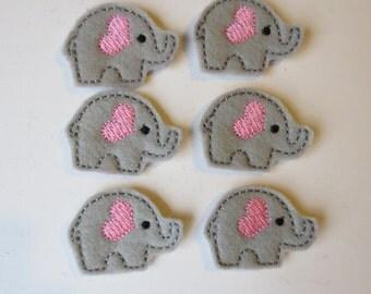 Light Grey Embroidered Elephants Embellishments - 015