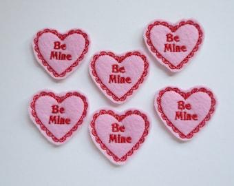 Be Mine Felt Embroidered Valentine Heart - 288