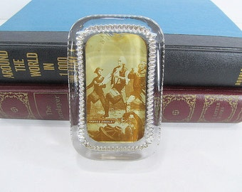Vintage Military Memorabilia, Solid Glass Paperweight, Desk Accessory, History Paperweight