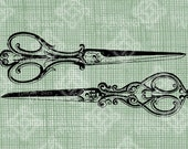 Digital Download Vintage Scissors, digi stamp, digis, digital graphic, Elegant, Ornate, Antique Illustration