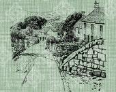 Digital Download English Village in Derbyshire, Vintage drawing, UK, British City, Antique Illustration, digi stamp, digis