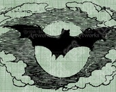 Digital Download Flying Bat and Moon, Cloudy Sky Vintage graphic, digi stamp, Gothic, Scary Creepy Transfer