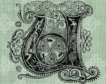 Digital Download Celtic Illumination Letter U, digi stamp, digis, St Patricks Day, Ornate digital collage sheet, Animal Inspired Transfer