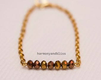 Simple bracelet lucky 7 gold bead jewelry faceted bead bracelet boho chic stackable layer layered bracelets 7 beads lucky number