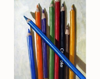 COLORED PENCILS print of my original still life artists tools oil painting