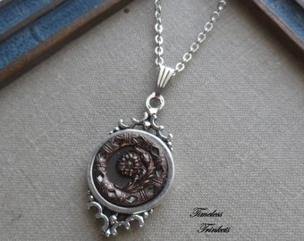 Brown Daisy Flower, Antique Button Necklace