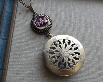 Scent Locket Necklace with Antique Button- Three Flowers