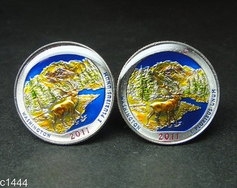 24mm USA Cufflinks -America the Beautiful Quarter   Olympic National Park located in Washington State