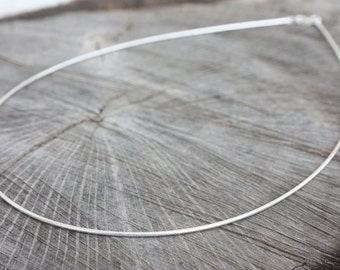 16 Inch Flexible Sterling Silver Round 1 mm Omega Necklace