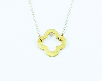 Trèfle - Vermeil Gold Clover Charm With 14K Gold Filled Necklace - Simple Lovely Everyday Jewelry Gift For Her