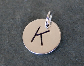 One Letter Charm, Sterling Silver, Personalized, Monogram Jewelry, Hand Stamped Charm, Solid Sterling Silver