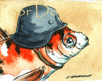 ACEO signed PRINT  - Goldfish in a Helmet